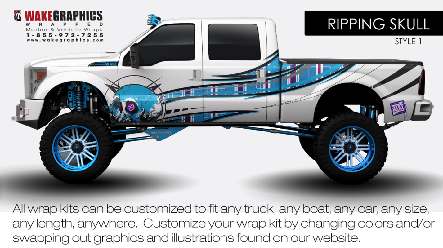 Ripping Skull Style 1 Truck Wraps