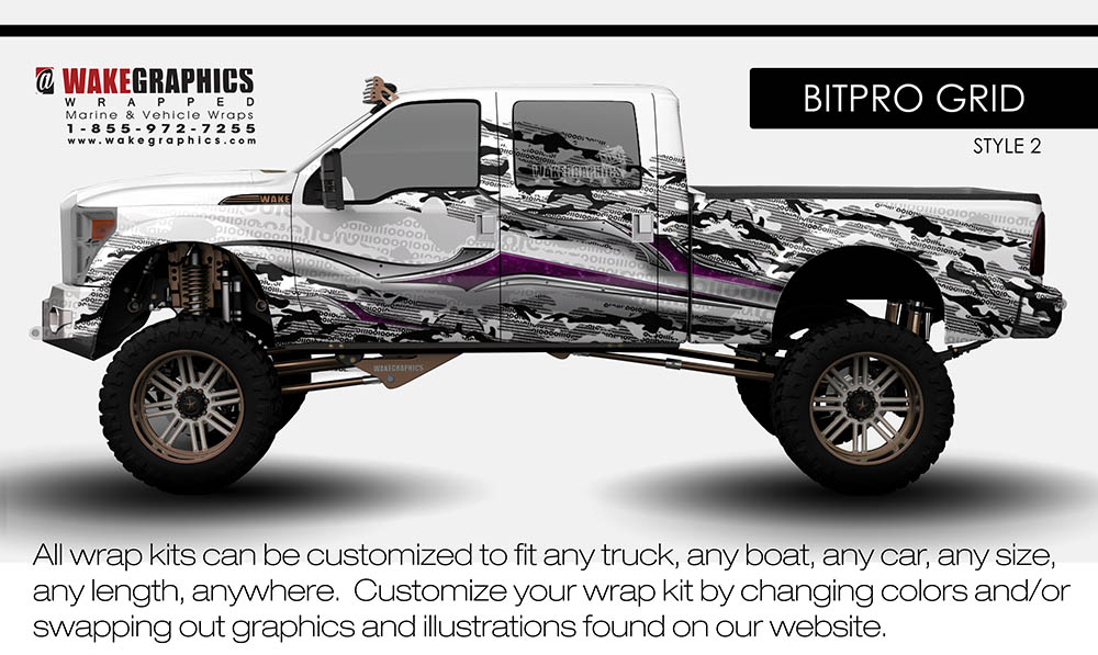 The Bitpro Grid Style 2 Truck Wraps